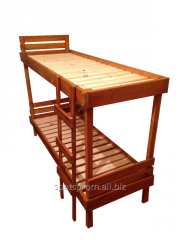 The bed is wooden 2-level