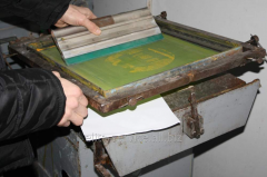 The machine of a stencil process, with a vacuum