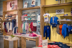 Wooden shelf for clothes stores