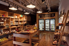 Wooden shelves for grocery stores