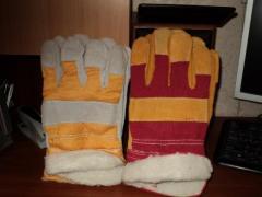 Перчатки комбинированные х/б+спилок утепленные