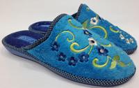 Тапочки домашние женские голубые вышитые цветы 36