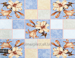 Blue oilcloth with lilies on a dining table, 118-C