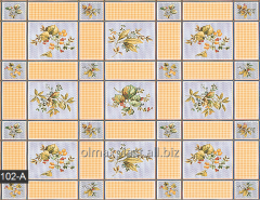 Oilcloth table in a section with flowers, 102-A
