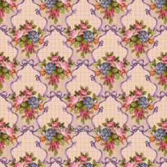 Oilcloth with Bouquets of flowers and bows,