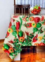 The Turkish oilcloth on a table Fresh vegetables,