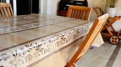 Oilcloth detachable on a table Flower strips,