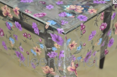 Oilcloth silicone translucent with violet flowers,