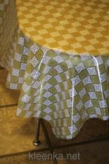 Oilcloth silicone translucent Cage beige-white,