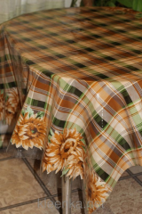 Oilcloth silicone opaque Brown sunflowers, art.