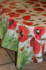 Oilcloth silicone opaque Poppies and bugs, art.