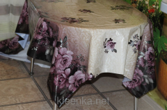 Oilcloth silicone opaque Roza on the violet coupon