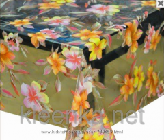 Oilcloth silicone transparent with flowers, an