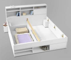The bed is functional