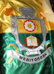 Embroidery of the coats of arms, pennants, flags
