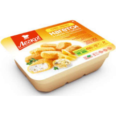 Nagetsa Legko! with cheese and mushrooms a tray of
