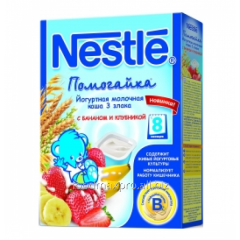 Porridge 3 cereals of Nestle of Pomogayk yogurt