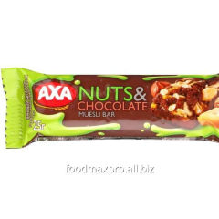 Bar of AHA grain with milk chocolate and nuts of