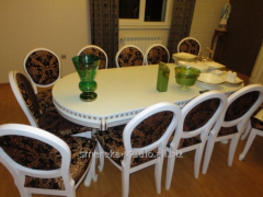 Dining table with a decor (oak) - sliding