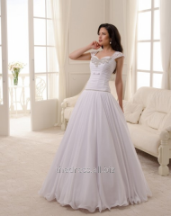 Свадебное платье А-силуэта из шифона, код: 135