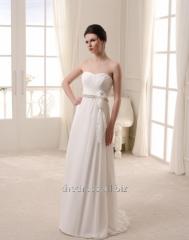 Свадебное платье прямого кроя из шифона, код: 149