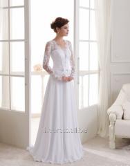 Свадебное платье прямое со шлейфом из шифона, код: