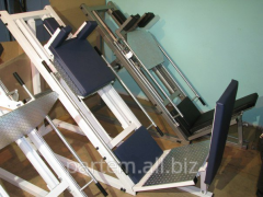 The exercise machine sports two in one: Press legs