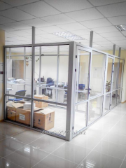 Glass partitions indoors