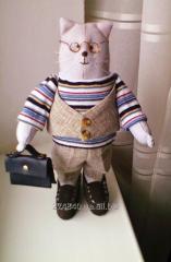 Мягкая интерьерная игрушка кот Степан ручной