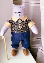 Мягкая интерьерная игрушка кот Тильда