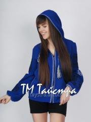 Jacket with hood embroidered