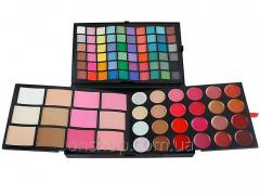 Big palette of shadows, blush, concealers,