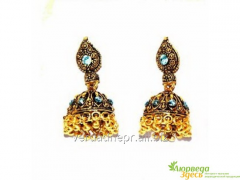 Earrings pastes India hand bells blue, k.8954