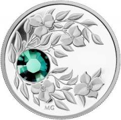 Coin with a green crystal the Emerald, silver