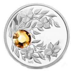 Монета с коньячным кристаллом Топаз, серебро