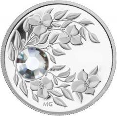 Монета с кристаллом Бриллиант благороднейшего оттенка, серебро