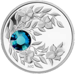 Coin with an azure crystal Zircon, silver