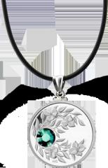 Монета-подвеска с зелёным кристаллом Изумруд, серебро