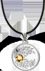 Монета-подвеска с коньячным кристаллом Топаз, серебро