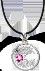 Монета-подвеска с лиловым кристаллом Турмалин, серебро