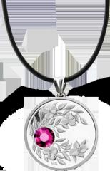 Монета-подвеска с пурпурным кристаллом Гранат, серебро