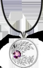Монета-подвеска с сиреневым кристаллом Аметист, серебро