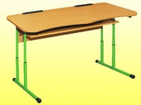 School desk student's 2-seater adjustment of