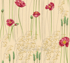 Wall-paper moisture resistant / Poppies / Article: