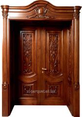 The door is wooden strong