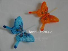 Set of decorative butterflies of feathers on