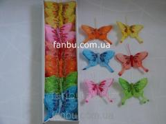 Big set of decorative butterflies of feathers on