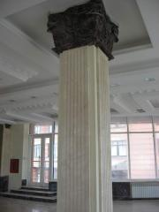 Marble. Columns from marble and granite