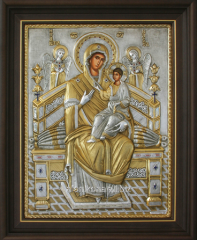 Squared icon In a wooden frame Under glass Silver