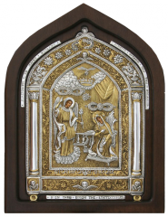 Icon of an arch form In a wooden frame under glass
